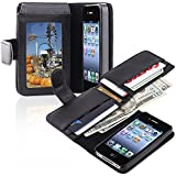 Big Dragonfly New Business Style Folio PU Leather Wallet Case with Cover Holster for Apple Iphone 4 4s with Multiply Card Slots Retail Package Black
