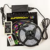 SUPERNIGHT (TM) Full Kit Waterproof 5M 16.4Ft IC 6803 5050 Dream Magic RGB LED Strip 133 Color Change + RF Remote Controller + 12V 6A Power Supply