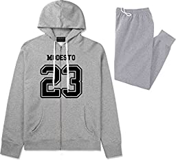 Sport Style Modesto 23 Team Jersey City California Sweat Suit Sweatpants XX-Large Grey