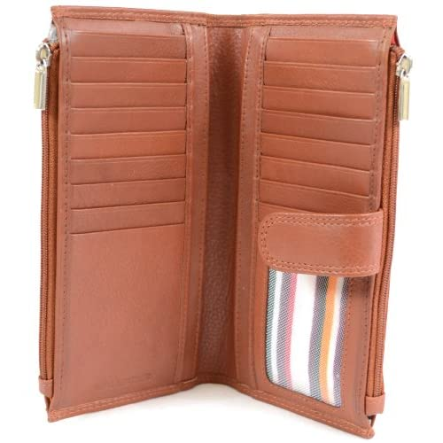 Ladies Large Soft Nappa Leather Purse with Multiple Credit Card Slots and Pockets (Black, Brown, Tan, Red)