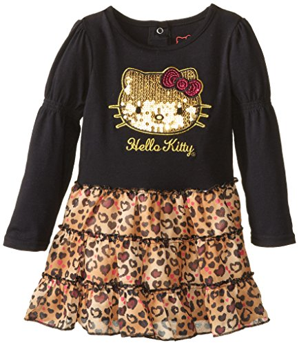 Hello Kitty Little Girls' Leopard Print Sequin Dress, Anthracite, 4T front-1073659