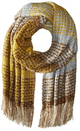 La-Fiorentina-Womens-Plush-Wrap-Scarf-with-Fringe-YellowBrown-One-Size