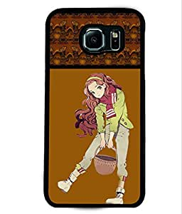 PRINTVISA Girl Jumping with Enjoy Premium Metallic Insert Back Case Cover for Samsung Galaxy S6 - D5935