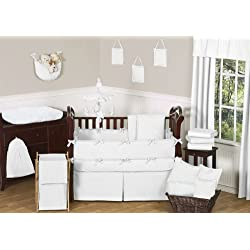 Sweet Jojo Designs Solid White Minky Dot Neutral Baby Girl Boy Unisex Bedding 9pc Crib Set