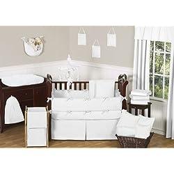 Sweet Jojo Designs Solid White Minky Dot Neutral Baby Girl Boy Unisex Bedding 9pc Crib Set