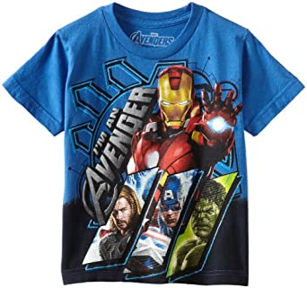 Marvel Little Boys' Avengers Lined Up Frames Shirt, Royal, Large(7)