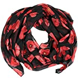 Poppy Print Design Women Scarves Large Size (Black)