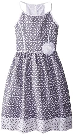 Emily West Big Girls' Chambray Dress with Contrast Trim, Blue, 10