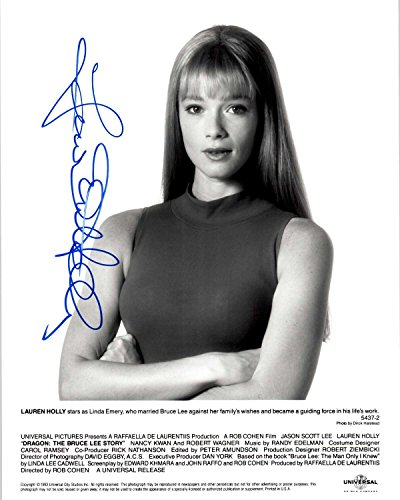 Lauren Holly Signed Autographed Dragon: The Bruce Lee Story Glossy 8x10 Photo - COA Matching Holograms zorssar 2017 new winter ladies shoes fashion real leather women ankle boots high heels platform womens martin boots size 33 43