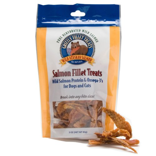 Grizzly Salmon Fillet Treats for Dogs & Cats (3 oz) whiskas temptations hearty beef flavour treats for cats