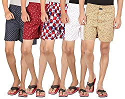 Joven Assorted Printed Cotton Boxer Pack of 5