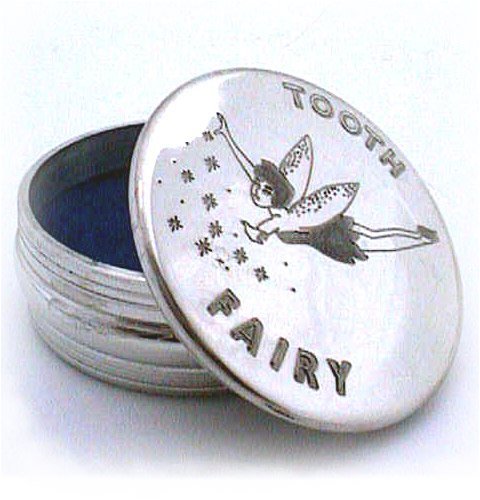 Pewter trinket box childs first tooth fairy design