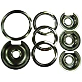 Range Kleen 1056RGE8Z GE Hinged Drip Pans and Trim Rings Containing 3 Units 105A, R6U and 1 Unit 106A,R8U, Chrome