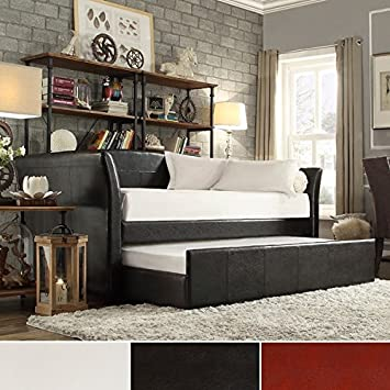 Dark Brown White or Wine Red Faux Leather Daybed with Rolling Under Trundle * Modern Upholstered Fabric Day Bed Frame * Living Room Sofa * Guest Kids Studio Apartment Bedroom Furniture * Office Livingroom Couch Bench Seating * Elegant Home Decor * (Dark B