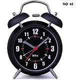 "HITO™ 4"" Silent Quartz Analog Twin Bell Alarm Clock with Nightlight and Loud Alarm (NO43)"