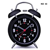 "HITO™ 4"" Silent Quartz Analog Twin Bell Alarm Clock with Nightlight and Loud Alarm (NO43)"