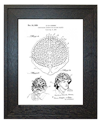 "Camouflaging Covering For Military Helmets Patent Art White Matte Print in a Rustic Oak Wood Frame (24"" x 36"")"