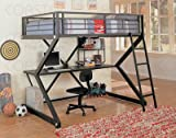 Contemporary Black Finish Metal Full Size Loft Bed & Workstation