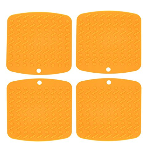 Famibay Silicone Pot Holders Heat Resistant Kitchen Table Hot Pots Silicone Trivet Mats Potholers Set of 4 (Orange) (Desk Hot Pot compare prices)