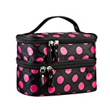 Cosmetic Bag MakeUp Case Double Layer Dot Pattern Portable Waterproof Wear Resistance Durable With 2 Zipper Holder With Mirror Travel Toiletry Bag Organizer (Black Rose)