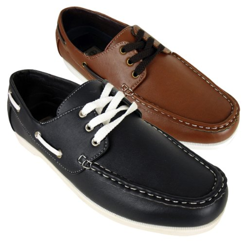 New Mens Smart Faux Leather Boat Shoe Loafer Deck Shoes Size UK 7 8 9 10 11 12
