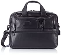 Tumi Alpha 2 Expandable Organizer Laptop Leather Brief, Black, One Size
