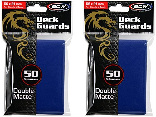 BCW 100ct Deck Guard BLUE MATTE Finish for Stardard Size Collectable Cards - Deck Protector Sleeves [2-Pack Bundle]