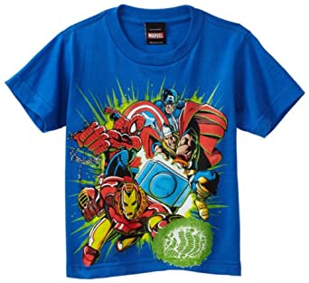 Marvel Little Boys' Team Green T-Shirt, Royal Blue, 5/6