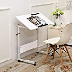 Unicoo-Height Adjustable Laptop Cart, Computer tabel, Student Study Table, Drafting Drawing Table Overbed Table Over Sofa Table(White-052)