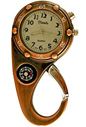Copper Color Clip on Watch Bag Pocket Watch W/compass & Back Light