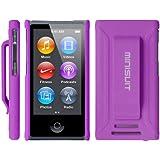 MiniSuit JAZZ Slim Shell Case with Belt Clip + Screen Guard for iPod Nano 7 (Rubberized Purple)
