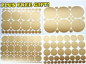 set of 251 metallic gold circles polka dots vinyl wall decals stickers with free. Black Bedroom Furniture Sets. Home Design Ideas