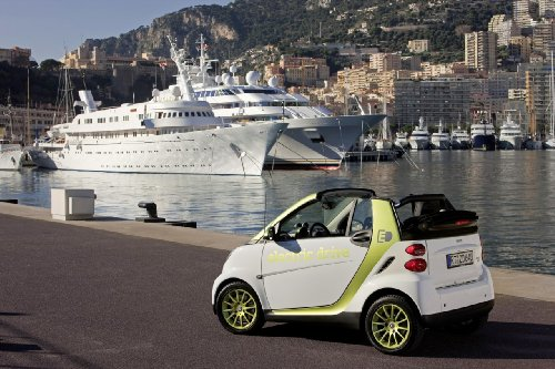 """Smart Fortwo Electric Drive (2010) Car Art Poster Print On 10 Mil Archival Satin Paper White Rear Side Static View 16""""X12"""""""