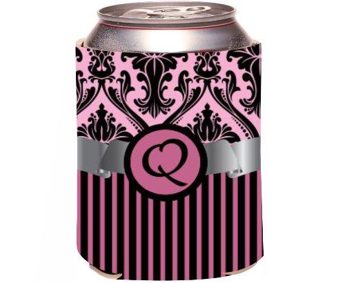 "Rikki Knight Beer Can Soda Drinks Cooler Koozie, Letter ""Q"" Initial Monogrammed Design, Damask And Stripes, Light Pink front-644169"