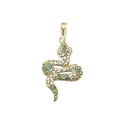 18k gold pendant zircons emerald snake coiled [AA4914]