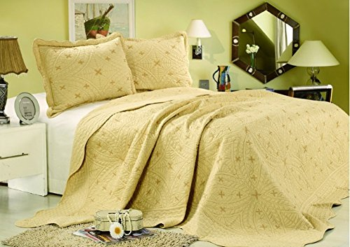 Tache 3 Piece Geometeric Golden Stars Bedspread Set-Cal King front-323068