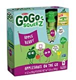 GoGo squeeZ Appleberry, Applesauce On The Go, 3.2-Ounce Pouches (Pack of 48)
