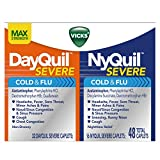 Vicks DayQuil/NyQuil Severe Cough Cold and Flu Relief Convenience Pack, 48 Caplets