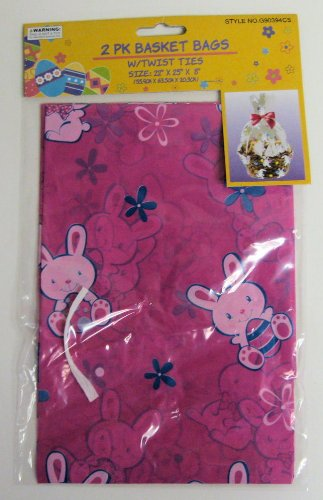 2pk Pink Easter Bunny Basket Bags/Cellophane