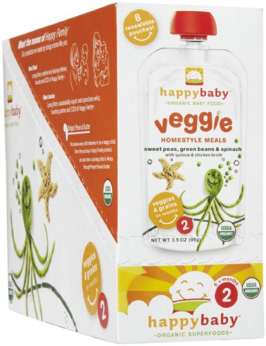 Happy Baby Organic Baby Food: Stage 2 / Homestyle Meals, Peas Beans Spinach, 3.5 oz