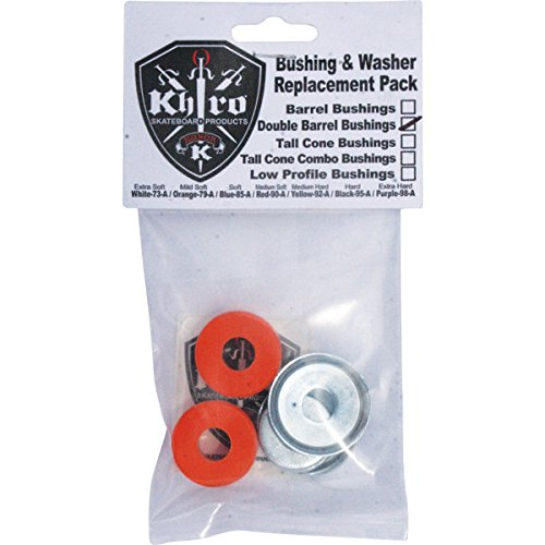 Khiro Double Barrel Mid Soft Orange Skateboard Bushings with Washers - 79a (Soft Barrel Bushings compare prices)