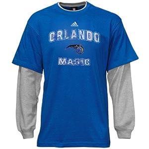 NBA adidas Orlando Magic Youth Faux-Layered Long Sleeve Thermal T-Shirt - Royal Blue... by adidas