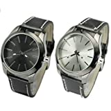 WLM 2013 Top 10 Elegant Women Men PU Leather Quartz Sport Analog Wrist Watch Watches Clock With 2pcs