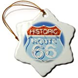 3dRose orn_88027_1 Arizona, Seligman, Neon Signage on Historic Route 66 US03 LSE0015 Lynn Seldon Snowflake Porcelain Ornament, 3-Inch