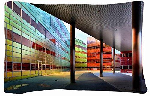 Microfiber Peach Queen Size Decorative Pillowcase -City City Building Wallpaper front-746563