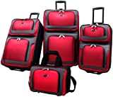 US Traveler New Yorker 4 Piece Luggage Set Expandable,Red,One...