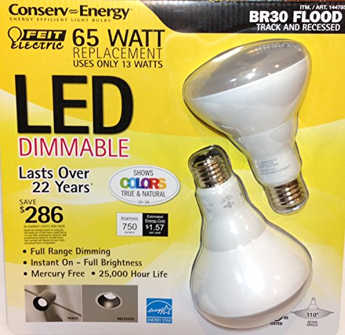 Feit Electric 65 Watt Led Br30 Flood Track And Recessed - 2 Pack (144785)