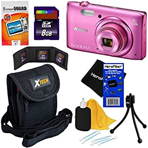 Nikon COOLPIX S5300 16 MP Wi-Fi CMOS Digital Camera with 8x Zoom NIKKOR Lens and 1080p HD Video (Pink) - International Version (No Warranty) + 7pc Bundle 8GB Accessory Kit w/ HeroFiber Cleaning Cloth