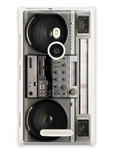 "Grüv Premium Case ""Retro Vintage 80S Radio Boombox Stereo"" Design For Nokia Lumia 925 (Best Quality Designer Print On White Hard Cover)"