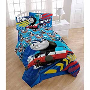com thomas the train engine 5pc full comforter and sheet set bedding